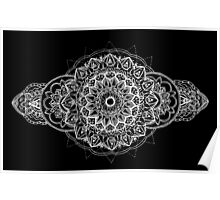White Over Black Mandala Poster