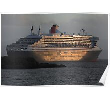 RMS Queen Mary 2 at Sunset Poster
