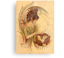 """THE PISCES"" - Protective Angel for Zodiac Sign Metal Print"