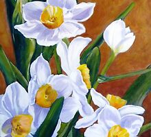 White daffodils by bettymmwong