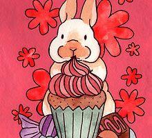 Bunnies & flowers 03 by Jazmine Phillips