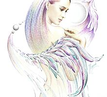 """THE VIRGO"" - Playing with Wings  - Protective Angel for Zodiac Sign by Anna Miarczynska"