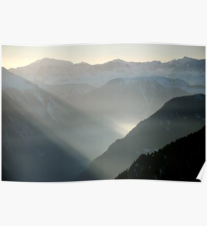 Misty mountains of Switzerland Poster