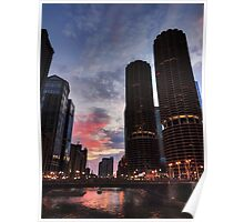 Chicago River Sunset 003 Poster