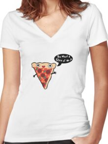 Pizza Monster Women's Fitted V-Neck T-Shirt