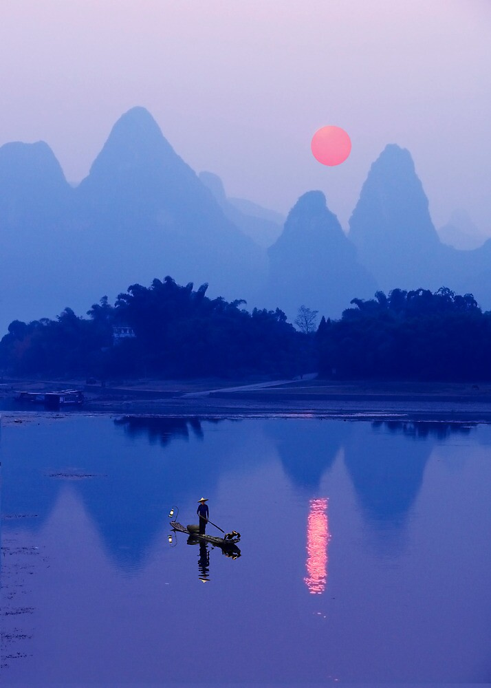 LI RIVER SUNSET - CHINA by Michael Sheridan