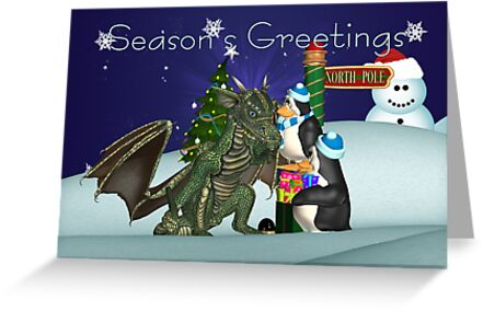 Dragon And Penguin Christmas Card by Moonlake