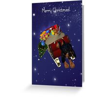 Rotweiler Puppy Pulling Santa's Sleigh Card Greeting Card