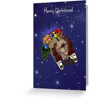 Cat Pulling Santa's Sleigh Christmas Card Greeting Card
