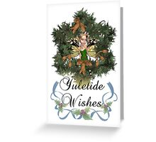 Yule Card With Cute Elven Fairy On Winter Wreath Greeting Card