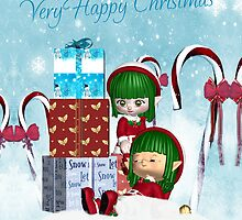 Little Elf Christmas Card - Resting Elves by Moonlake