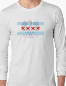 Polish Eagle Chicago Flag Long Sleeve T-Shirt