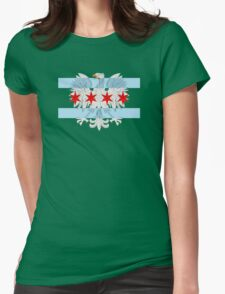 Polish Eagle Chicago Flag Womens Fitted T-Shirt