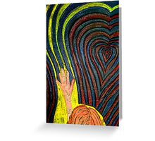 Waving, goodbye as she follows her heart.  Greeting Card