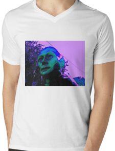 Hugo, Man of a Thousand Faces, Pinkened Mens V-Neck T-Shirt