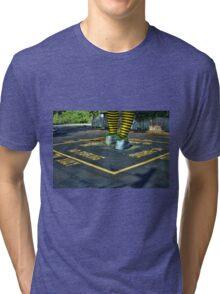 Walking through the Parking Lot in Striped Stockings Tri-blend T-Shirt
