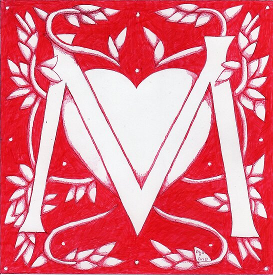 Red Heart Letter M by Donna Huntriss