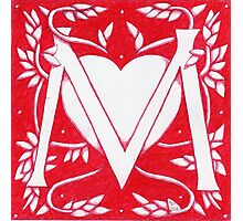 Red Heart Letter M Photographic Print