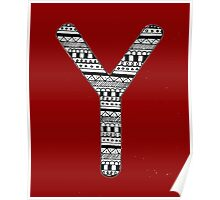 'Y' Patterned Monogram Poster