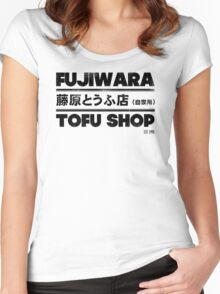 Initial D - Fujiwara Tofu Shop Tee (Black) Women's Fitted Scoop T-Shirt