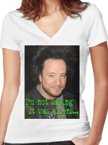 Giorgio Tsoukalos - Aliens Women's Fitted V-Neck T-Shirt