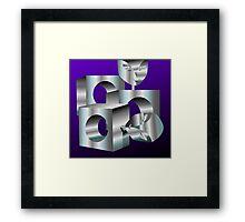 Digital painting of designed steel blocks Framed Print
