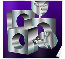 Digital painting of designed steel blocks Poster