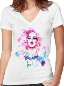 Adore Delano Water Colour Women's Fitted V-Neck T-Shirt