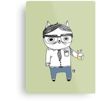 Nerdy Cat Metal Print