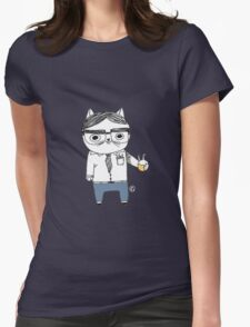 Nerdy Cat Womens Fitted T-Shirt