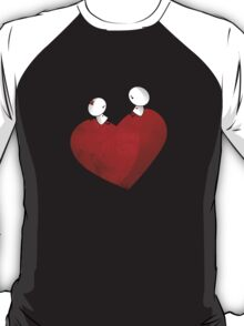 Sitting on a big & Lovely Red Heart - T-Shirt T-Shirt
