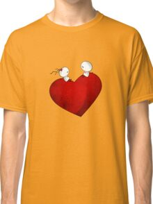 Sitting on a big & Lovely Red Heart - T-Shirt Classic T-Shirt