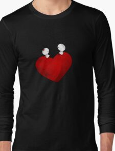 Sitting on a big & Lovely Red Heart - T-Shirt Long Sleeve T-Shirt