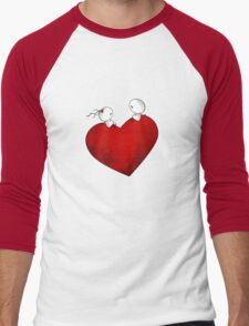 Sitting on a big & Lovely Red Heart - T-Shirt Men's Baseball ¾ T-Shirt
