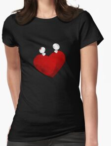 Sitting on a big & Lovely Red Heart - T-Shirt Womens Fitted T-Shirt