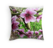 Nectarine Blossom with leaves forming Throw Pillow