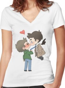Destiel Kiss Women's Fitted V-Neck T-Shirt
