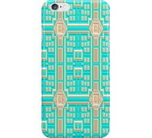 Turquoise fabric wallpaper pattern. iPhone Case/Skin
