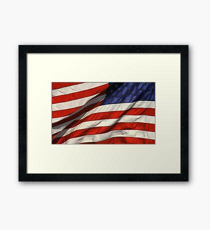 Blowing American Flag Framed Print