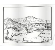Pikes Peak - Pen & Ink Poster