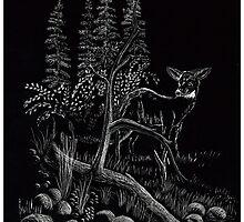 Deer - Scratch Board by Gordon Pegler