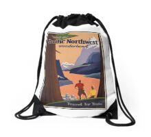 Pacific Northwest Vintage Art Drawstring Bag