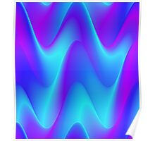 Blue Waves pattern in creative abstract design. Poster