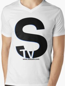 Black S with Blue trim t-shirt Mens V-Neck T-Shirt