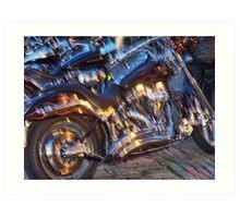 Gleaming motorbikes  Art Print