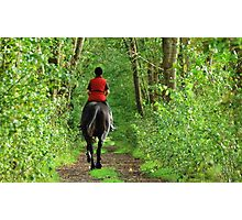 Riding up the green path Photographic Print