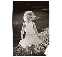 girl in curls walking in a tutu Poster