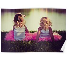 sisters sitting in tutus by the lake Poster