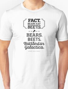 The Office Dunder Mifflin - Jim Halpert Bears. Beets. Battlestar Galactica. T-Shirt