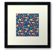 Love Kitty Cats Pattern Framed Print